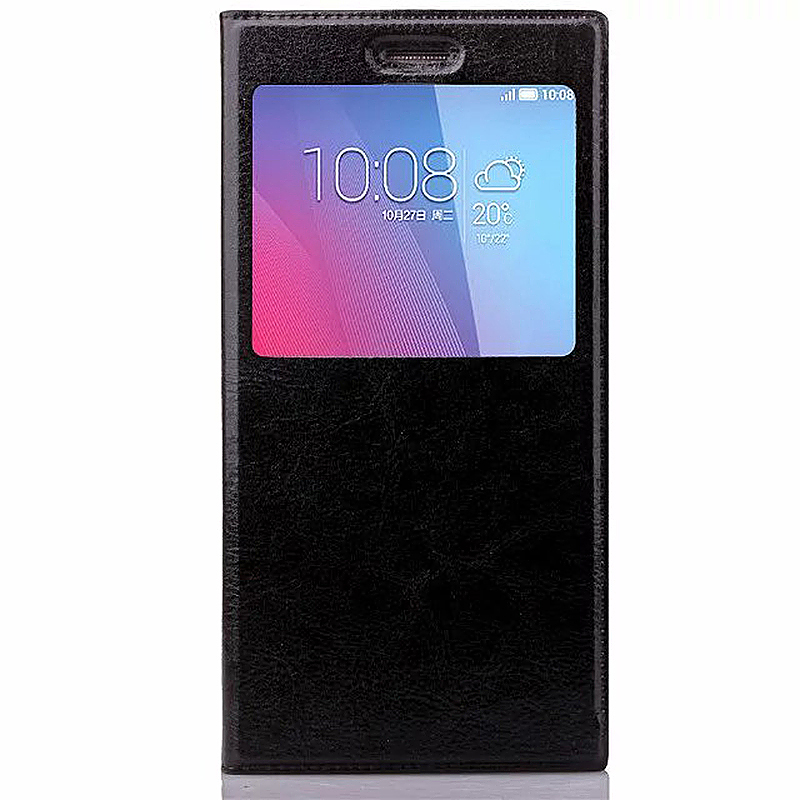 4.0-4.5 Inch Universal Silicone Smart Touch View Window Flip Stand Phone Case Cover - Black