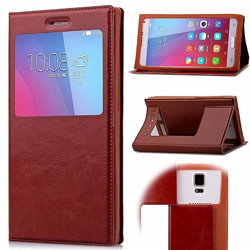 3.6-4.0 Inch Universal Silicone Smart Touch View Window Flip Stand Phone Case Cover - Brown