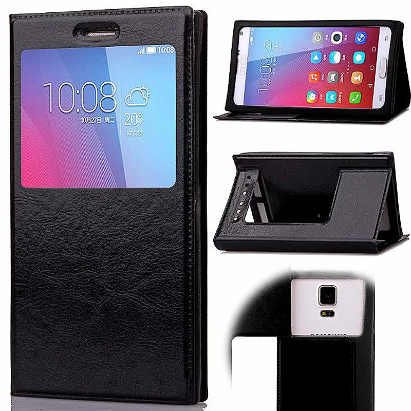 3.6-4.0 Inch Universal Silicone Smart Touch View Window Flip Stand Phone Case Cover - Black