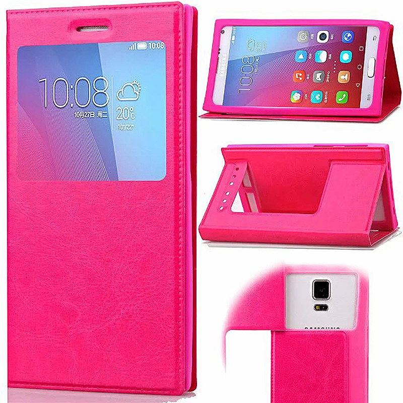 3.6-4.0 Inch Universal Silicone Smart Touch View Window Flip Stand Phone Case Cover - Rose Red