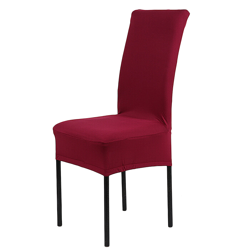 Universal  Stretch Removable Dinning Room Office Hotel Stool Chair Cover - Wine Red