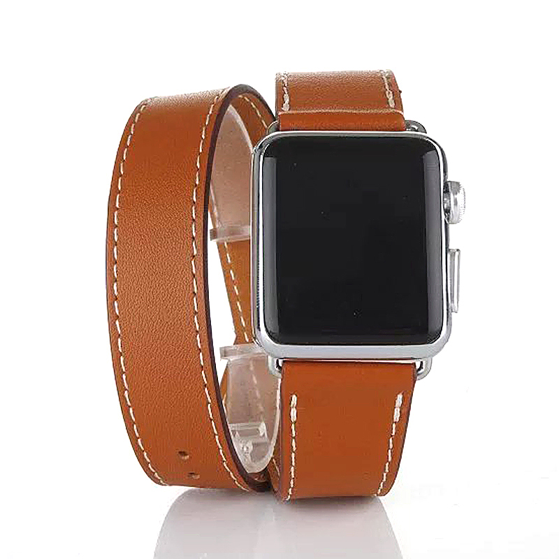 38mm Genuine Leather Cuff Bracelet Watchband Strap for Apple Watch iWatch - Brown