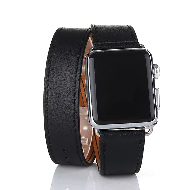 42mm Genuine Leather Cuff Bracelet Watchband Strap for Apple Watch iWatch - Black
