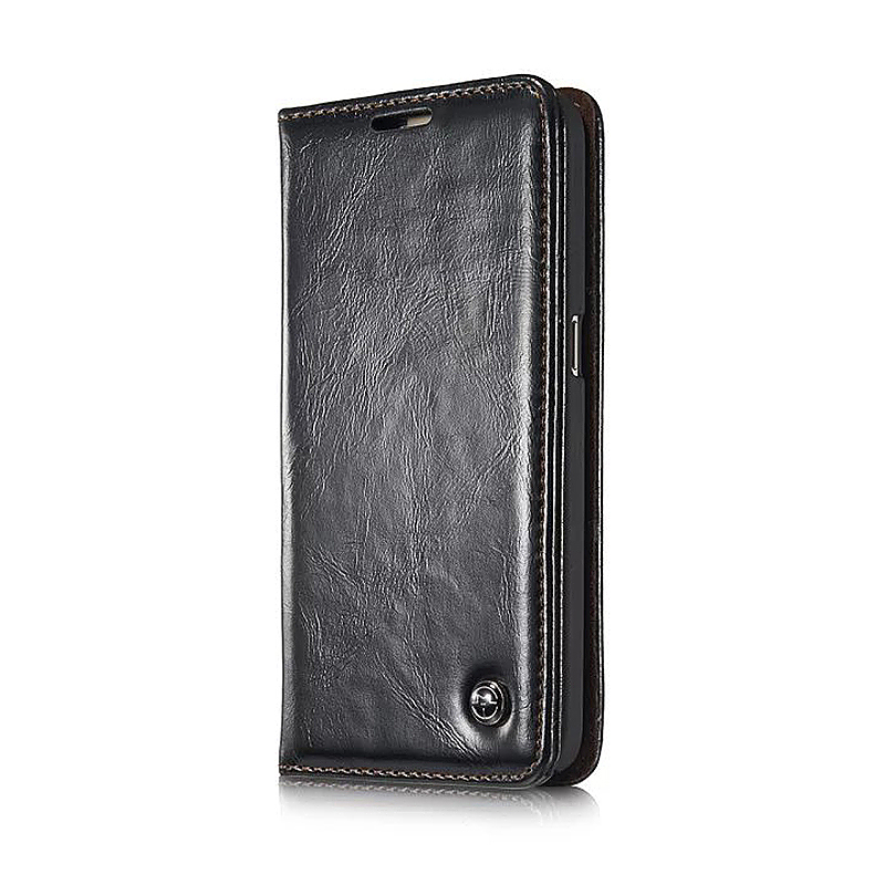 Caseme PU Leather Stand Flip Wallet Cover Case for Samsung Glaxy S7 - Black