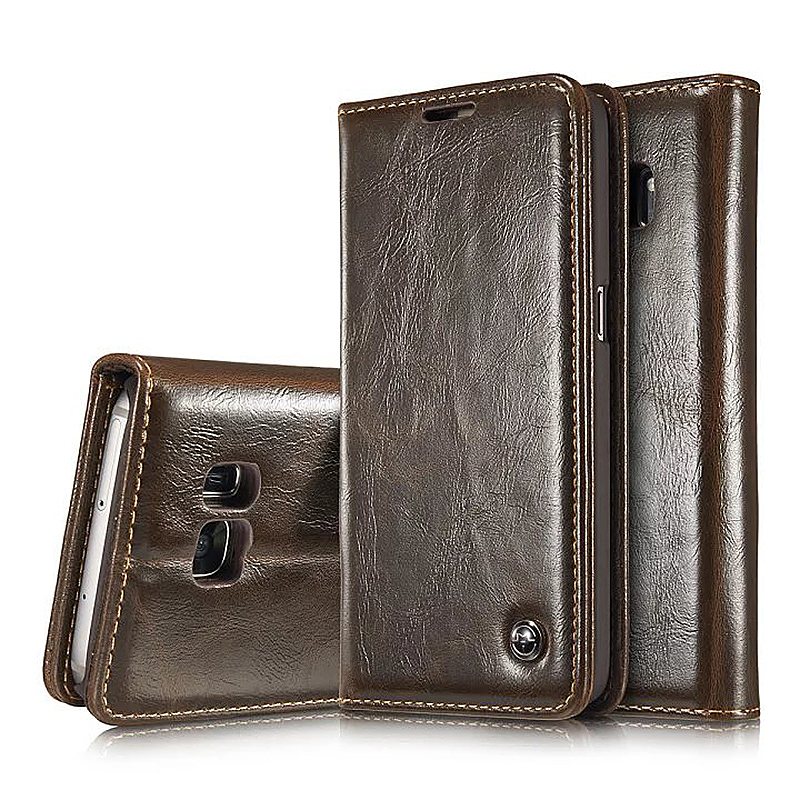 Caseme PU Leather Stand Flip Wallet Cover Case for Samsung Glaxy S7 - Brown