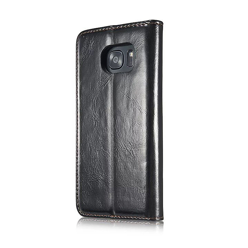 Caseme PU Leather Stand Flip Wallet Cover Case for Samsung Glaxy S7 Edge - Black