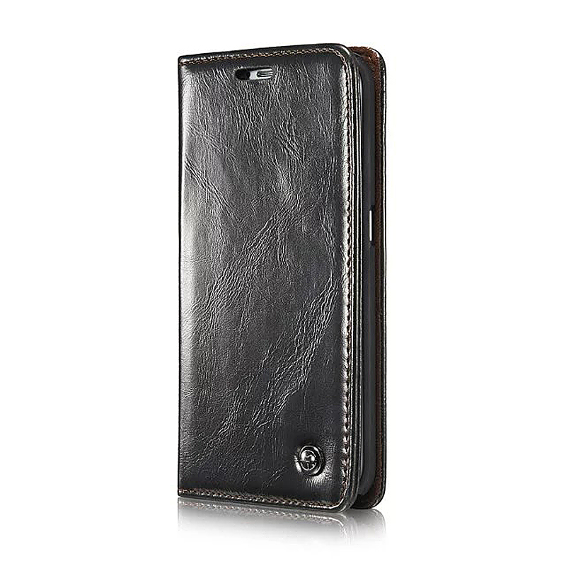 Caseme PU Leather Stand Flip Wallet Cover Case for Samsung Glaxy S6 Edge - Black