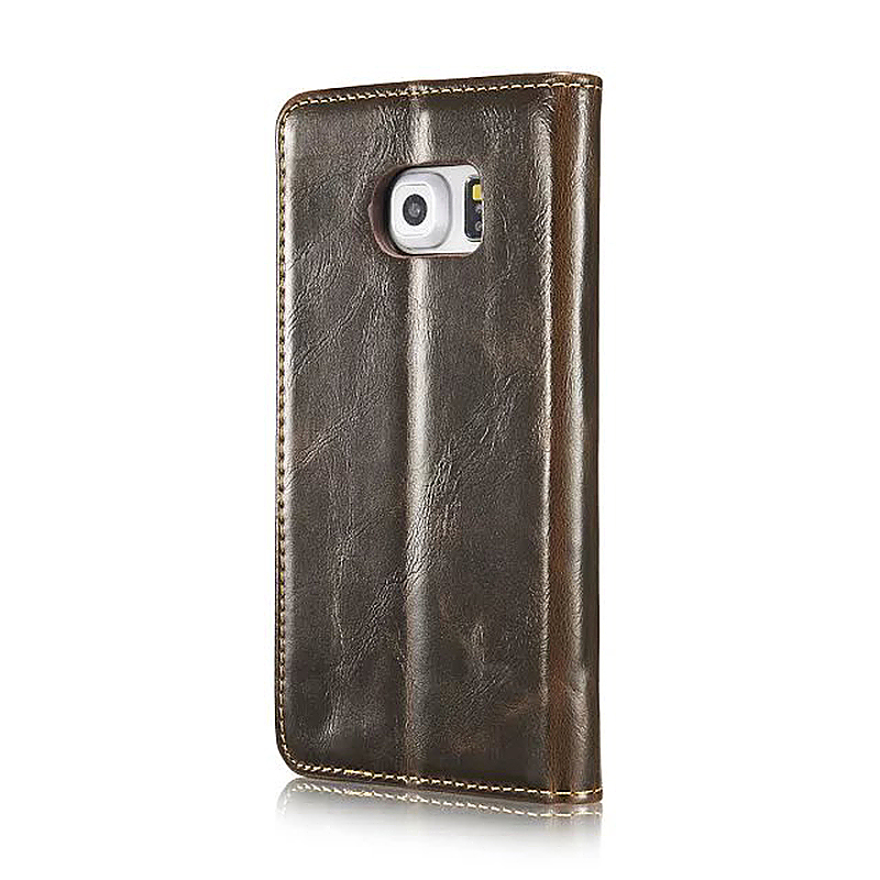 Caseme PU Leather Stand Flip Wallet Cover Case for Samsung Glaxy S6 Edge - Brown
