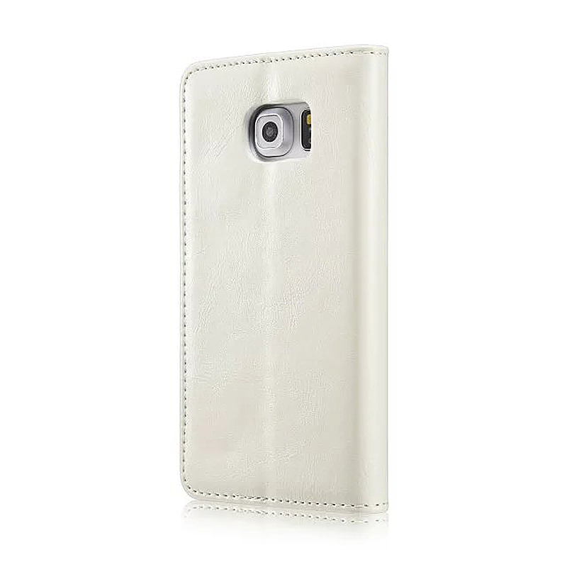 Caseme PU Leather Stand Flip Wallet Cover Case for Samsung Glaxy S6 Edge - White