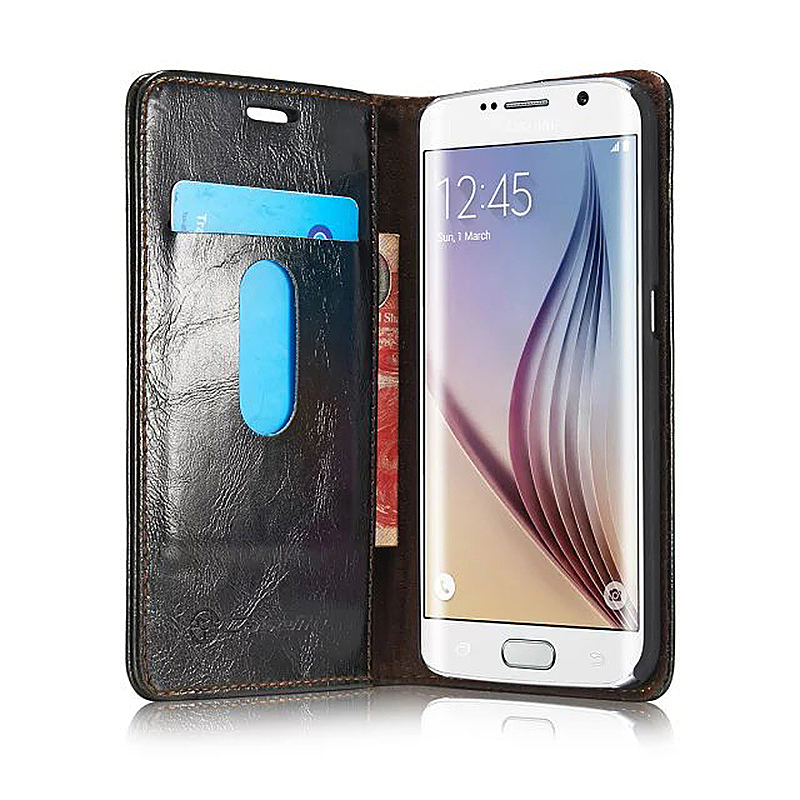 Caseme PU Leather Stand Flip Wallet Cover Case for Samsung Glaxy S6 Edge Plus - Black