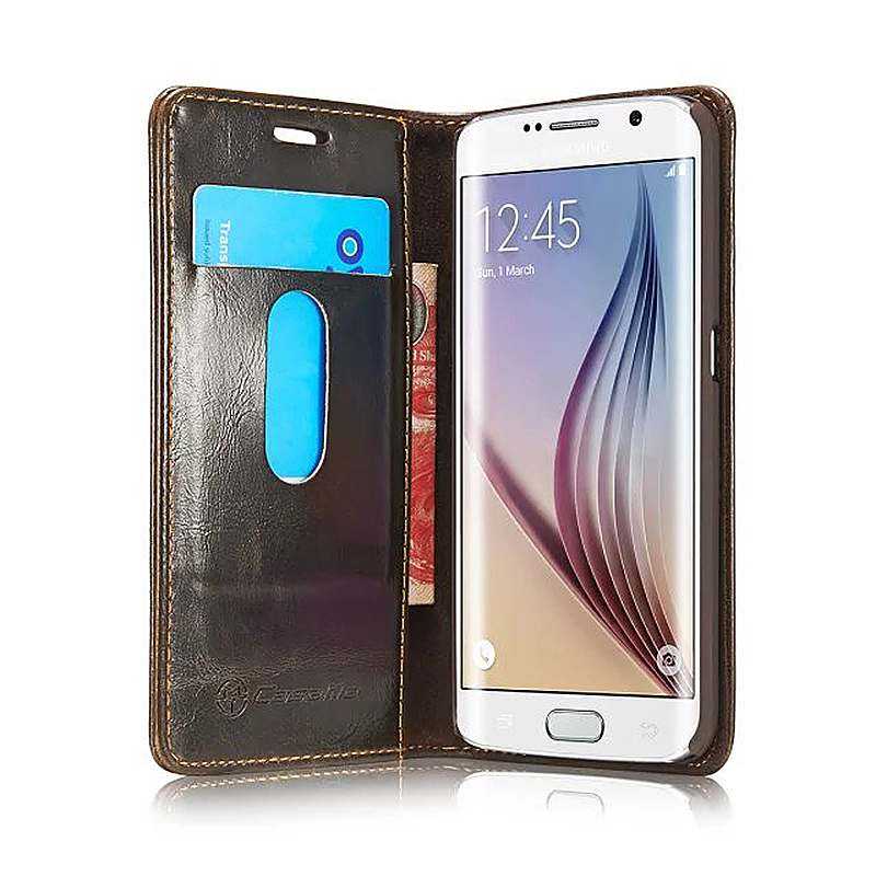 Caseme PU Leather Stand Flip Wallet Cover Case for Samsung Glaxy S6 Edge Plus - Brown