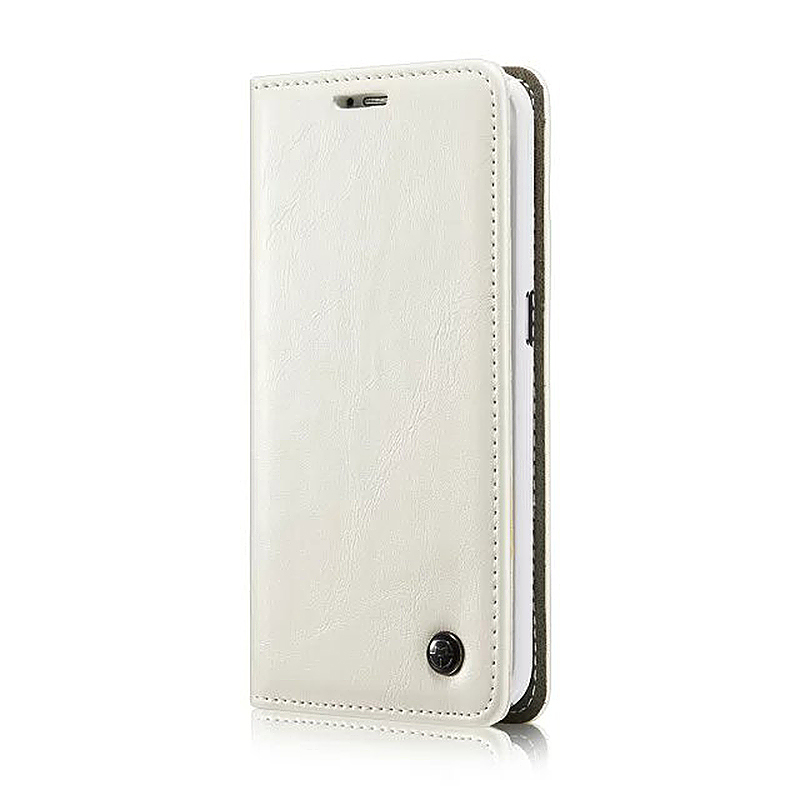 Caseme PU Leather Stand Flip Wallet Cover Case for Samsung Glaxy S6 Edge Plus - White