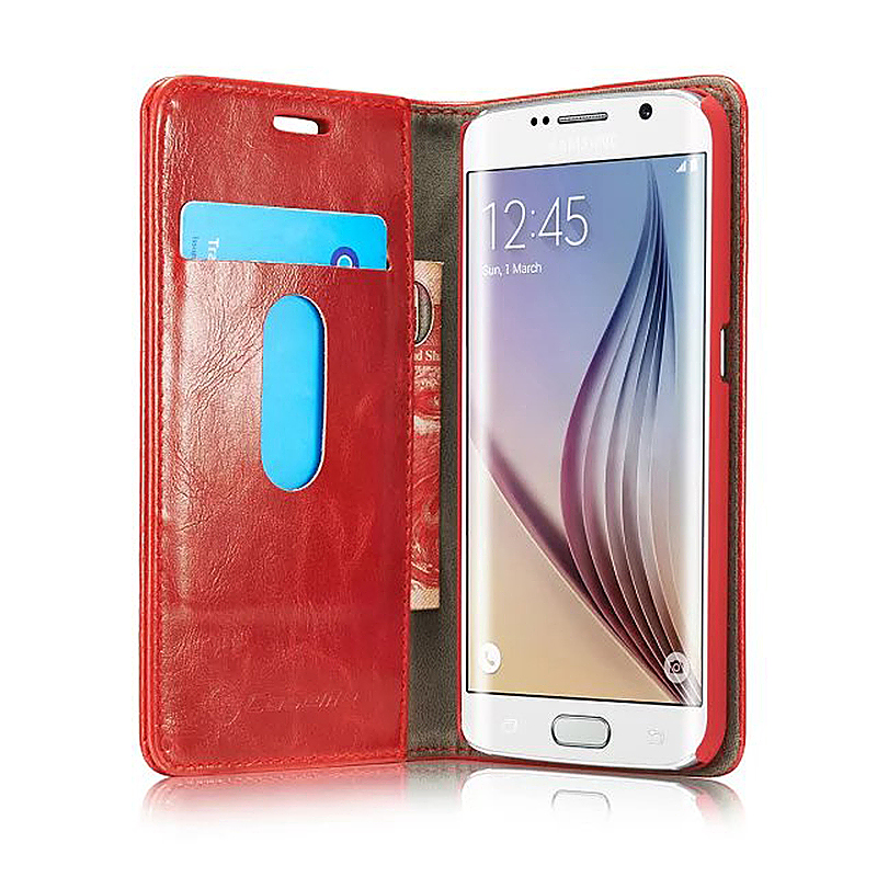 Caseme PU Leather Stand Flip Wallet Cover Case for Samsung Glaxy S6 Edge Plus - Red