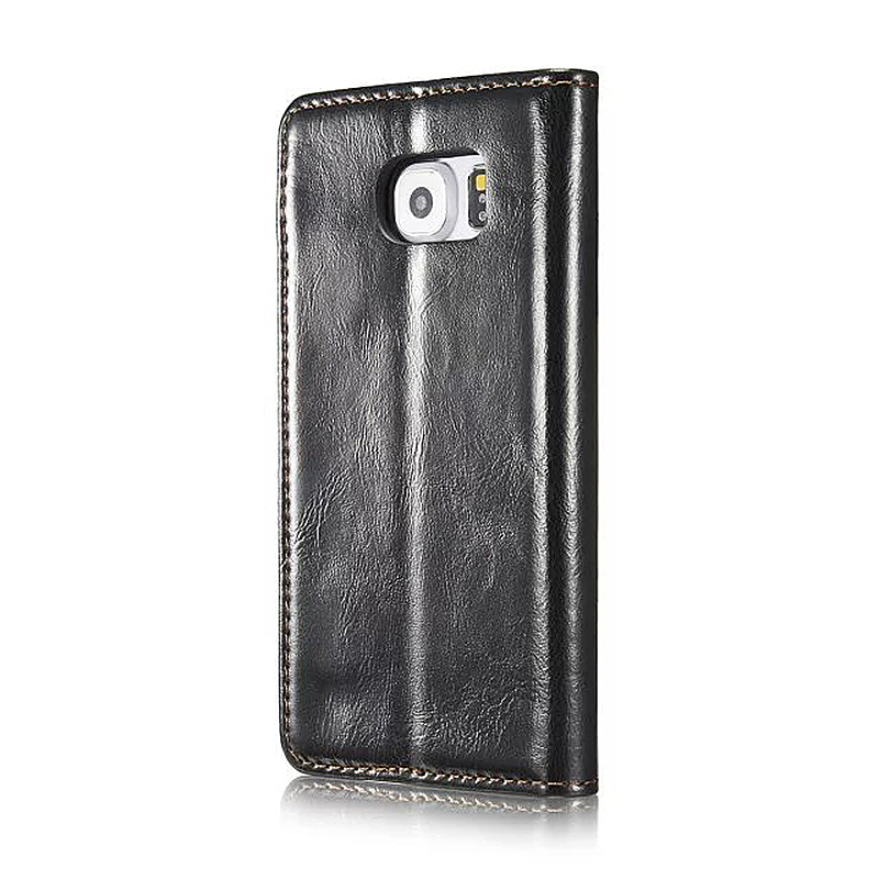 Caseme PU Leather Stand Flip Wallet Cover Case for Samsung Glaxy S6 - Black