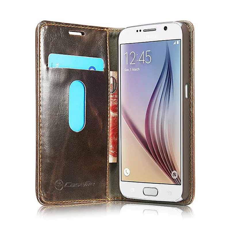 Caseme PU Leather Stand Flip Wallet Cover Case for Samsung Glaxy S6 - Brown