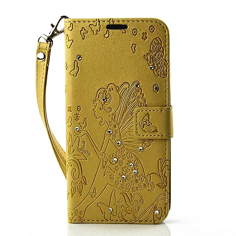 PU Leather Embossing Cystal Shinning Stand Flip Wallet Cover Case for Samsung Glaxy S7 Edge - Golden