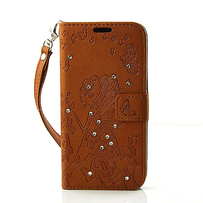 PU Leather Embossing Cystal Shinning Stand Flip Wallet Cover Case for Samsung Glaxy S7 - Brown
