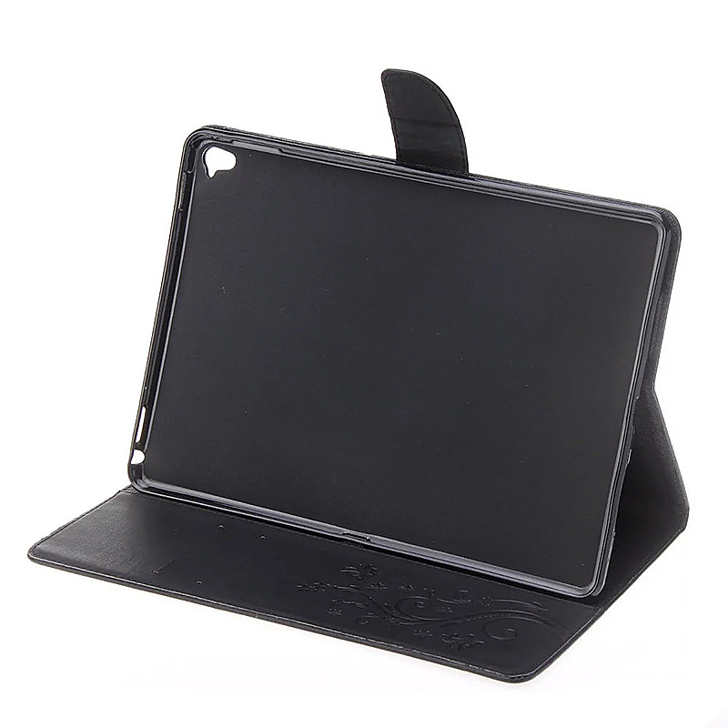 9.7 Inch PU Leather Embossing Foldable Stand Case Shell for iPad Pro - Black