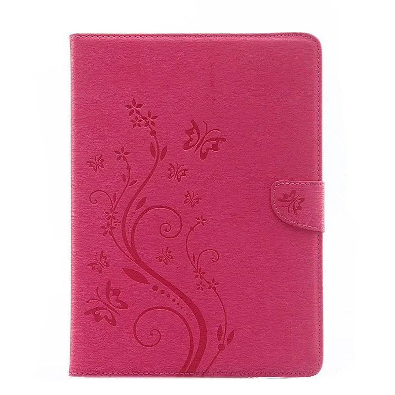9.7 Inch PU Leather Embossing Foldable Stand Case Shell for iPad Pro - Rose Red