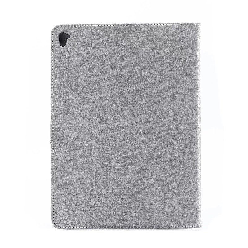 9.7 Inch PU Leather Embossing Foldable Stand Case Shell for iPad Pro - Grey