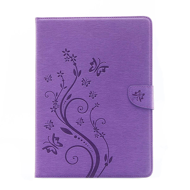 9.7 Inch PU Leather Embossing Foldable Stand Case Shell for iPad Pro - Purple