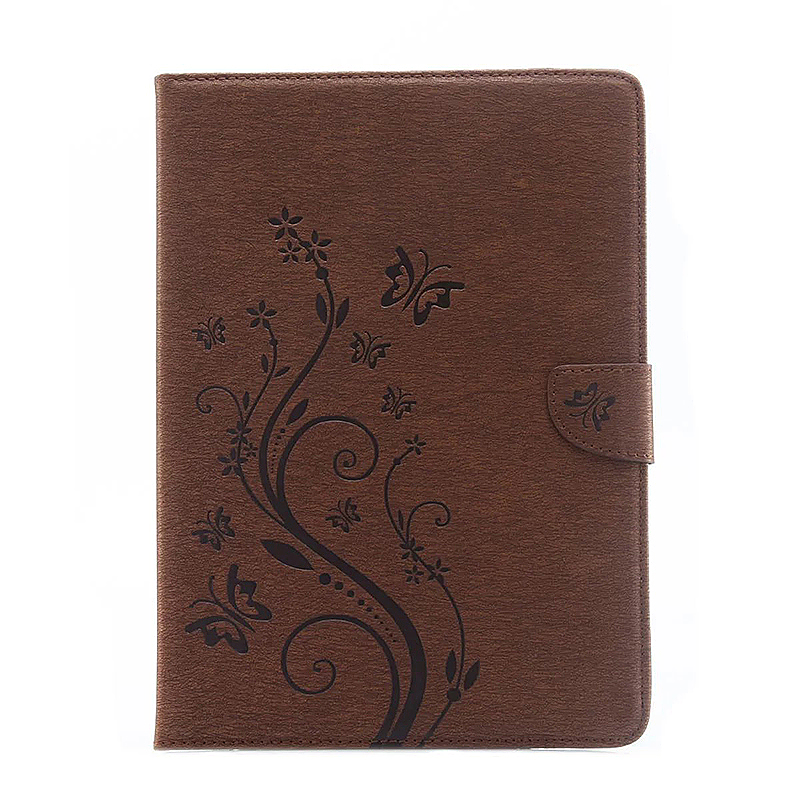 9.7 Inch PU Leather Embossing Foldable Stand Case Shell for iPad Pro - Brown