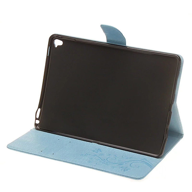 9.7 Inch PU Leather Embossing Foldable Stand Case Shell for iPad Pro - Blue