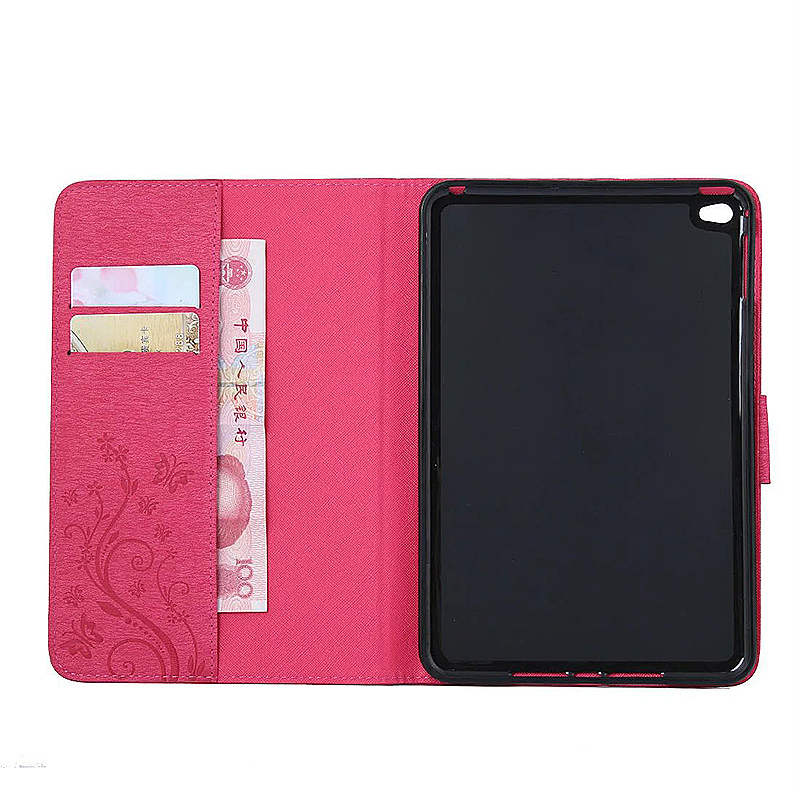 7.9 Inch PU Leather Embossing Foldable Stand Case Shell for iPad Mini 4 - Rose Red