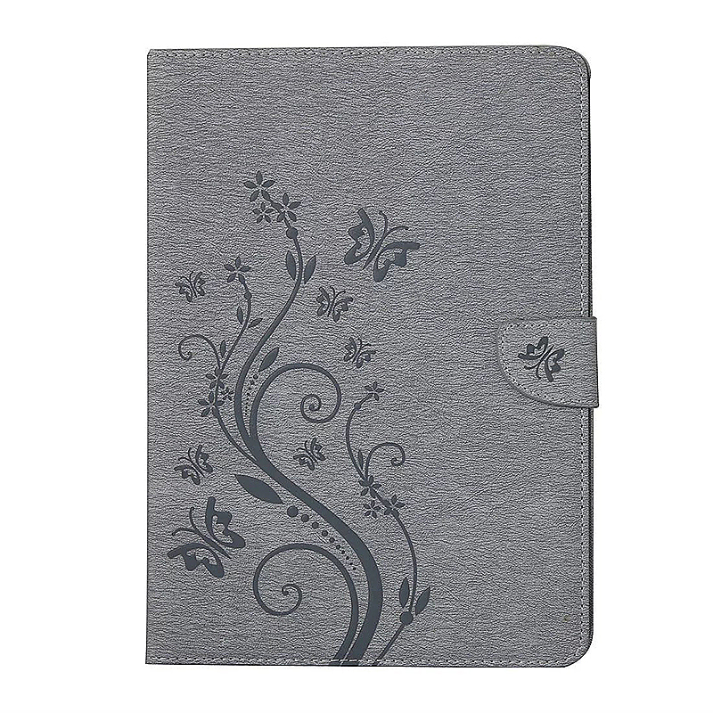 7.9 Inch PU Leather Embossing Foldable Stand Case Shell for iPad Mini 4 - Grey