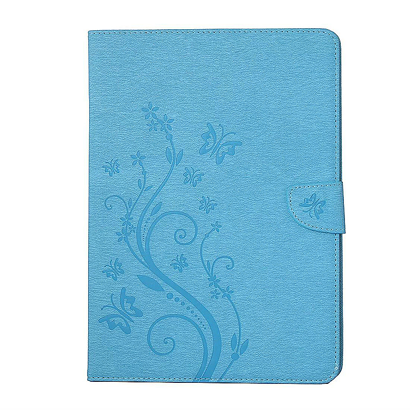 7.9 Inch PU Leather Embossing Foldable Stand Case Shell for iPad Mini 4 - Blue