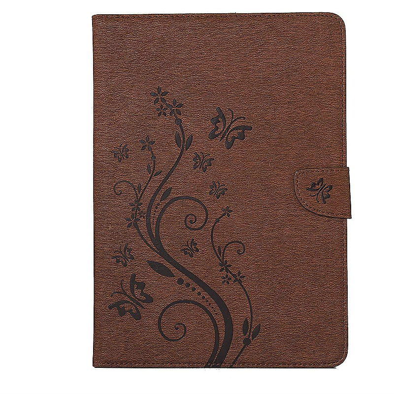 7.9 Inch PU Leather Embossing Foldable Stand Case Shell for iPad Mini 3 - Brown