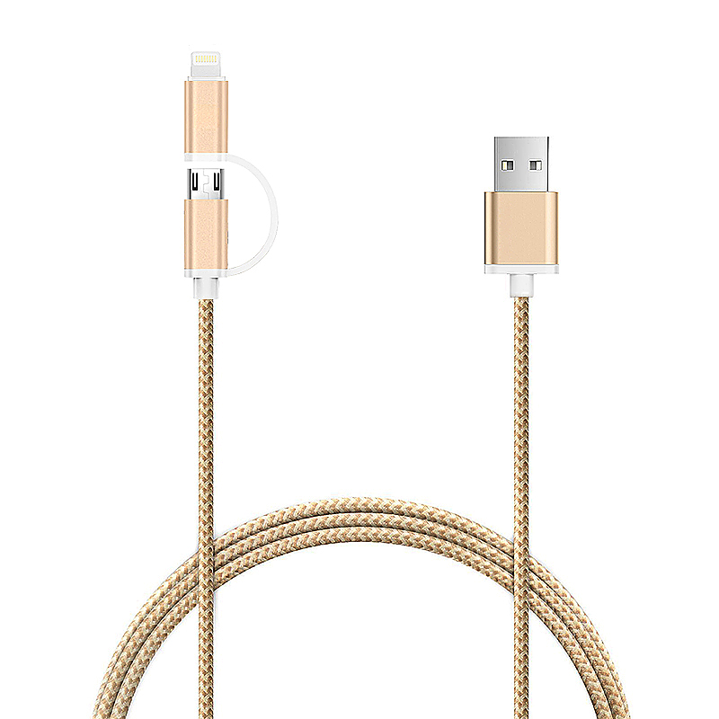 1M 2 in 1 Braided Weaven Micro/USB Data Charging Cable for iPhone Android Phones - Tyrant Gold