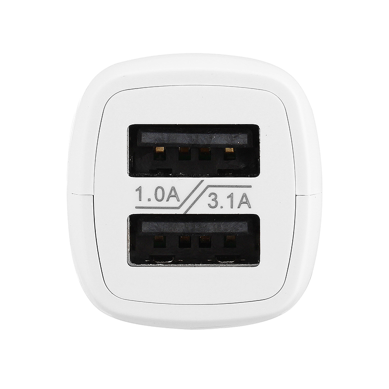 High Quality AD528 Dual USB Port 1A/3.1A Car Charger Micro USB Data Charging for iPhone iPad Samsung - White