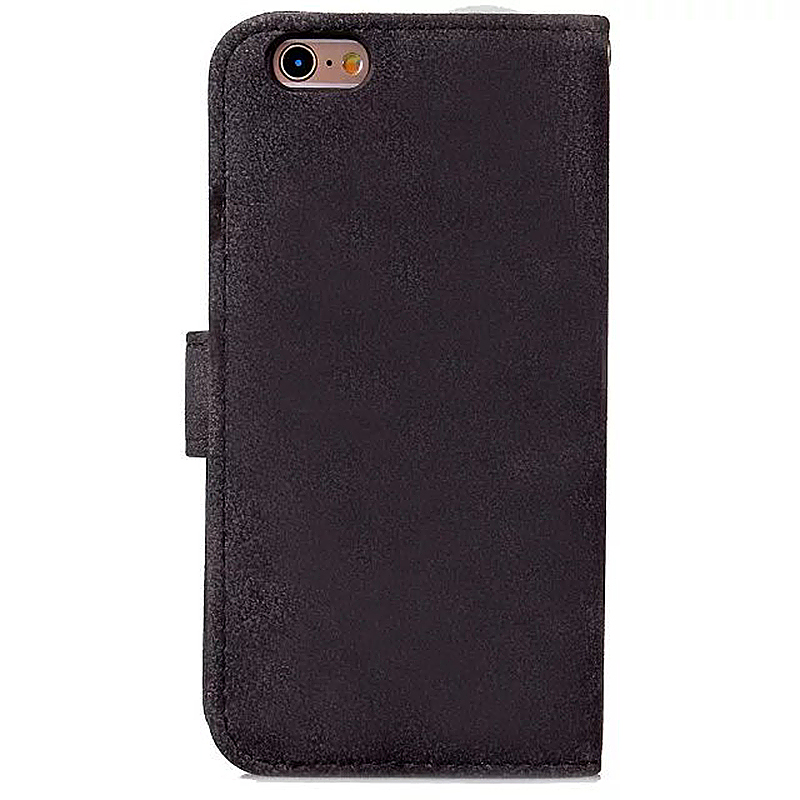 PU Leather Flip Card Pouch Flip Stand Phone Case Cover for Apple iPhone 6 - Black