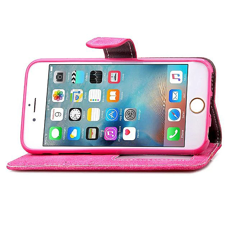 PU Leather Flip Card Pouch Flip Stand Phone Case Cover for Apple iPhone 6 - Rose Red