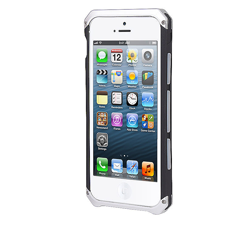Fashion Metal Edge Hard Phone Back Cover Case for Apple iPhone 6 Plus - Silver Black