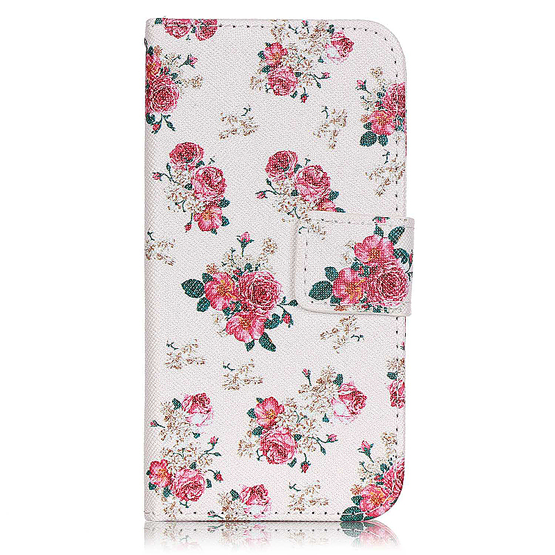 Painted Magnetic Loverly PU Leather Stand Flip Phone Case Cover for LG K4 - Flower