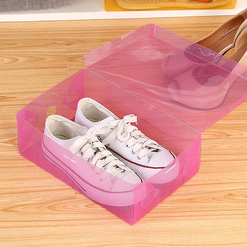 Ladies Man Shoe Trainers Boxes Storage Box Organizer Stackable - Pink