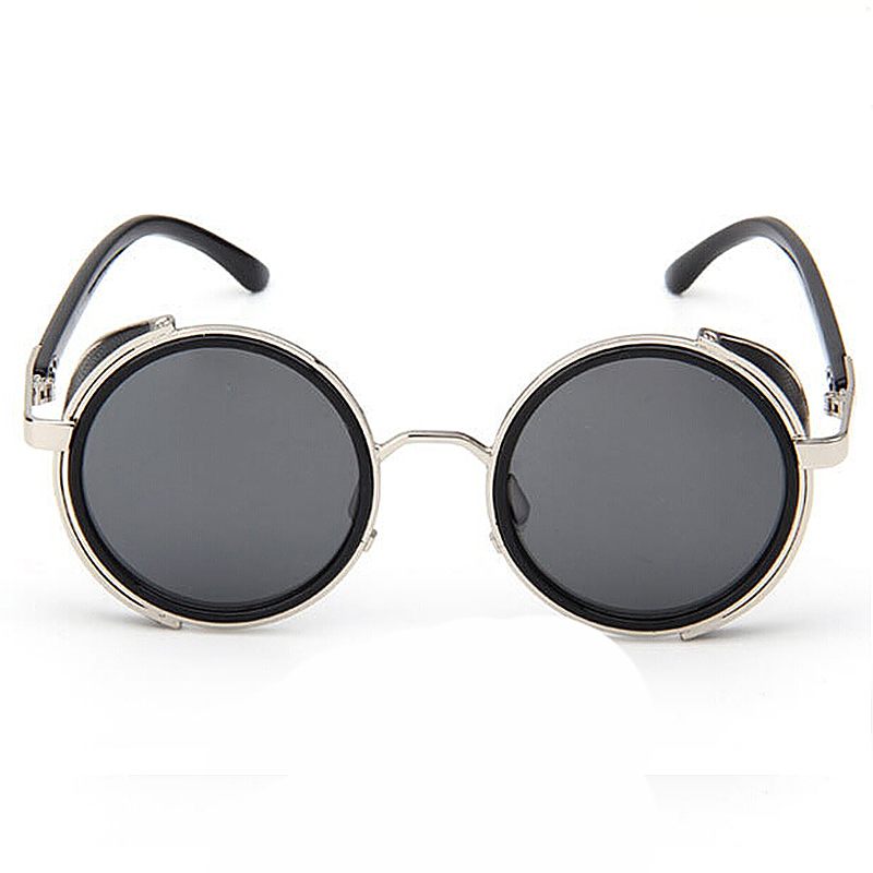 Round Mirror lens Cyber Goggles Steampunk Sunglasses Vintage Retro - Grey