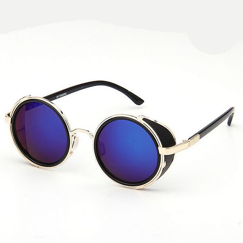 Round Mirror lens Cyber Goggles Steampunk Sunglasses Vintage Retro - Blue