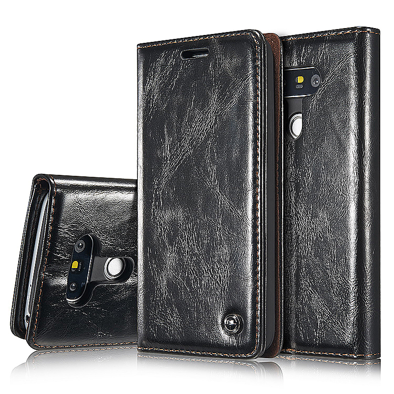 Luxury Flip Cover Stand Wallet Card Slot PU Leather Case for LG G5 - Black