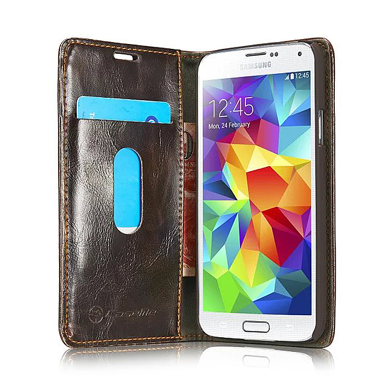 Luxury Flip Cover Stand Wallet PU Leather Case for Samsung Galaxy S5 - Brown