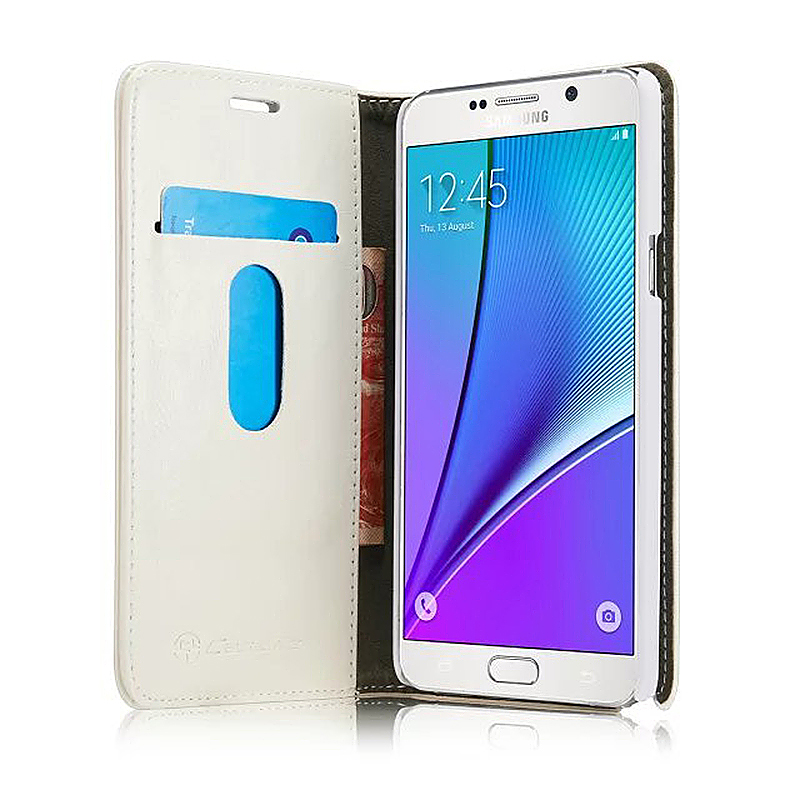 Luxury Flip Cover Stand Wallet PU Leather Case for Samsung Galaxy Note5 - White