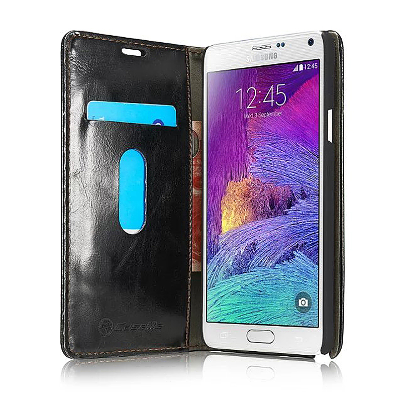Luxury Flip Cover Stand Wallet PU Leather Case for Samsung Galaxy Note4 - Black