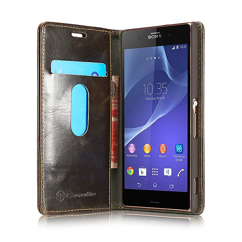 Luxury Flip Cover Stand Wallet PU Leather Case for Sony Z3 - Brown