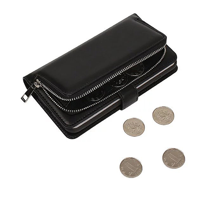 Luxury Zipper Wallet Card Purse Phone Case Cover for iPhone 6s - Black
