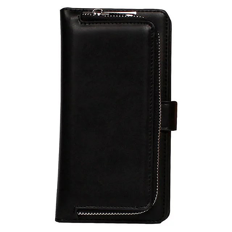 Luxury Zipper Wallet Card Purse Phone Case Cover for iPhone 7 - Black