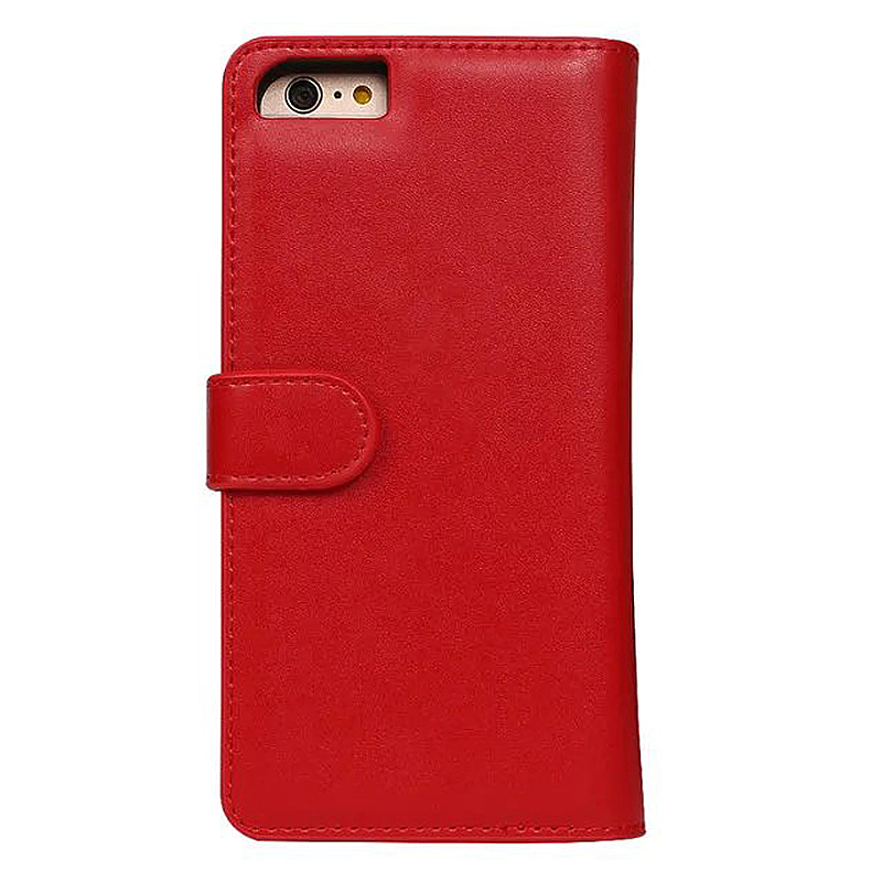 Luxury Zipper Wallet Card Purse Phone Case Cover for iPhone 7 - Red