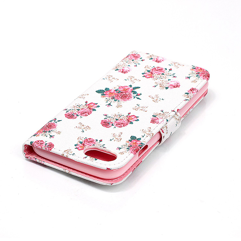 Soft Leather Book Wallet Slot Card Case Cover for iPhone 7 - Flowers
