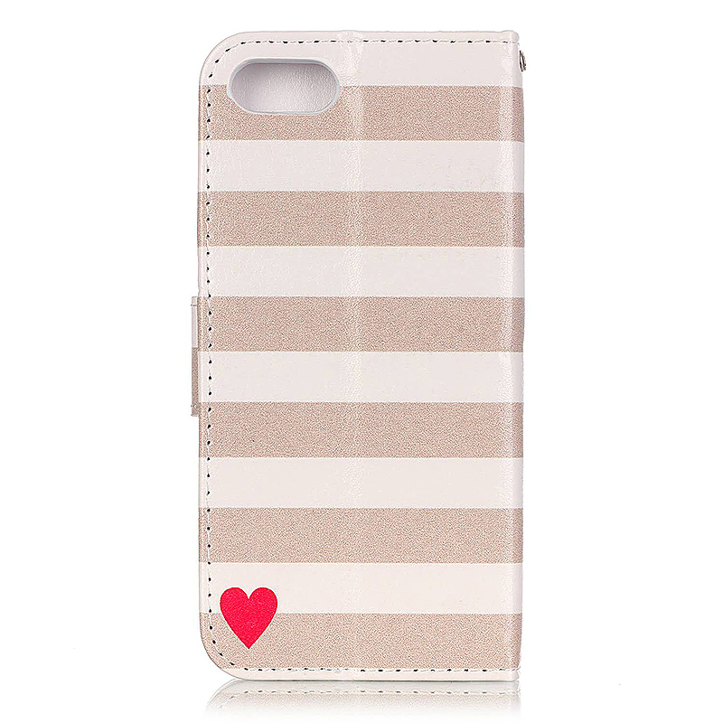 Soft Leather Book Wallet Slot Card Case Cover for iPhone 7 - Stripe